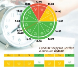 График загруженности МФЦ Академический по дням недели и часам