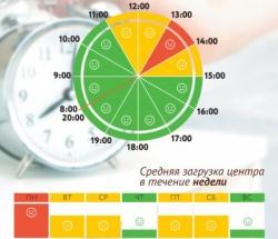 График загруженности МФЦ Черемушки по дням недели и часам