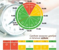 График загруженности МФЦ Чертаново Центральное по дням недели и часам