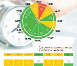 График загруженности МФЦ Донской по дням недели и часам