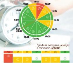 График загруженности МФЦ Ивановское по дням недели и часам