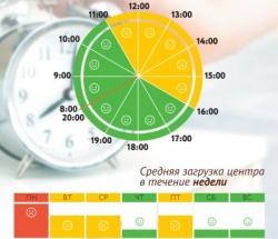 График загруженности МФЦ Раменки по дням недели и часам