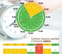 График загруженности МФЦ Северный по дням недели и часам