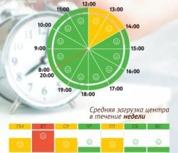 График загруженности МФЦ Таганский по дням недели и часам