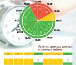 График загруженности МФЦ Троицк по дням недели и часам